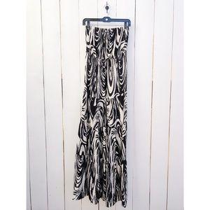 New York Company Black White Strapless Maxi Dress